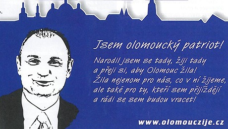Letáček, kterým Ivan Langer před volbami bojuje za lepší Olomouc.