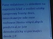 Paroubkova SMS, v níž původně odmítl rozhovor pro iDNES.cz