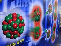 Jihokorejka prochází kolem diagramu termonuklární fůze. (12. května 2010)