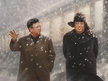 """Obraz """"Společně na cestě lidu"""" na výstavě severokorejské propagandy ve Vídni"""