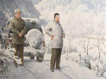 """Obraz """"Komu zvoní hrana. Na cestě do předních linií"""" na výstavě severokorejské propagandy ve Vídni"""