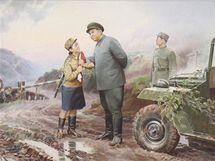 """Obraz """"Vůdče, jste blízko frontové linie"""" na výstavě severokorejské propagandy ve Vídni"""