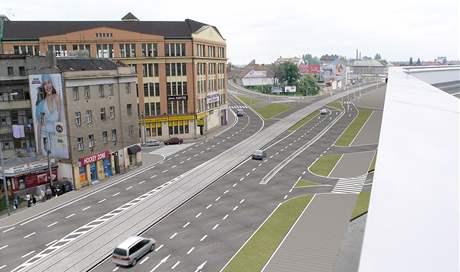 Vizualizace tramvajové linky na Plotní ulici v Brně.