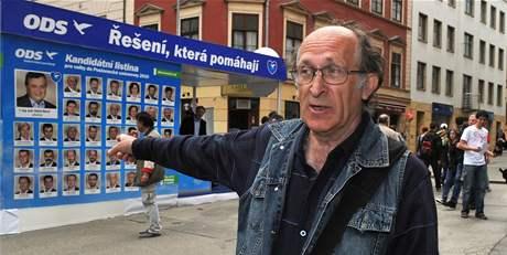 Alois Janák zaútočil na stánek ODS v centru Brna syrovými vajíčky