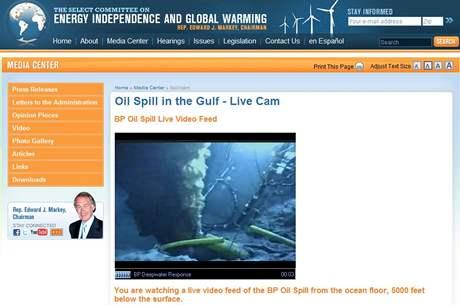 Záběr z webkamery zabírající únik ropy do Mexického zálivu. Společnost BP ji zpřístupnila veřejnosti