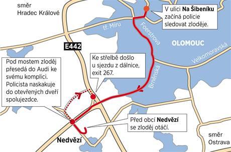 Mapa zásahu Martina Dudeška proti zlodějům aut v Olomouci.