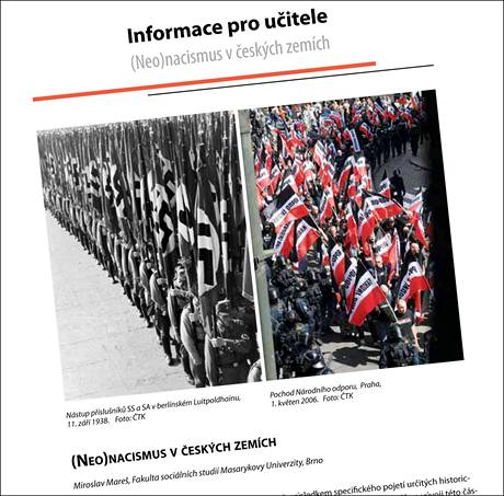 Stránky z příručky pro učitele Hrozby neonacismu.