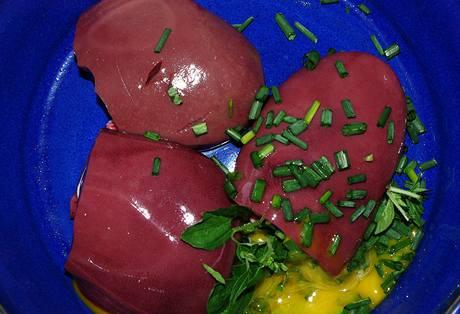 Syrové vepřové ledvinky, syrové vajíčko a bylinky naservírované pro psa podle BARF diety.