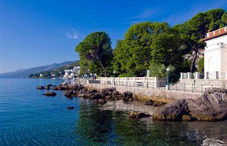 Chorvatsko, výhled na Kvarnerský záliv z Opatije