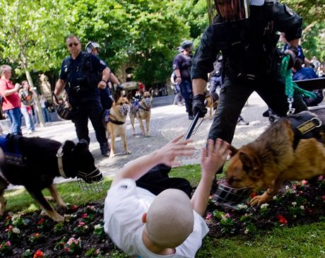 Policie se snažila pacifikovat přiznivce neonacistů.