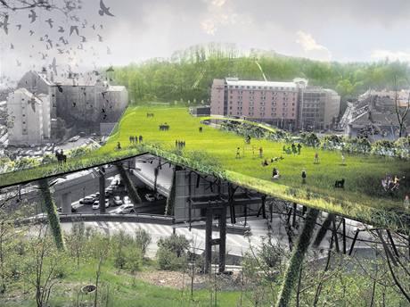 """Odvážný nápad. Architekti navrhli i toto spojení smíchovských vrchů Sacre Coeur a Mrázovka """"zeleným mostem"""""""