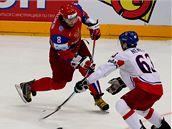 PRÁSK! Alexandr Ove�kin pálí, ale gól z toho nebude. Rusko ve finále mistrovství sv�ta na bojovné �echy nesta�ilo