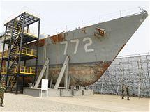 Jihokorejská korveta Čchonan, kterou potopilo torpédo KLDR ve Žlutém moři (20. května 2010)