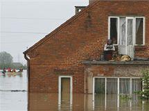 Záplavy ve městě Sandomierz na jihu Polska (19. května 2010)