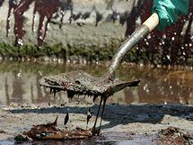 Ropa z poškozené těžební plošiny BP zaplavila americkou pláž Fourchon Beach (24. května 2010)