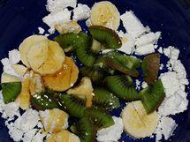 Psí snídaně podle krmné metody BARF: tvaroh, ovoce a med.