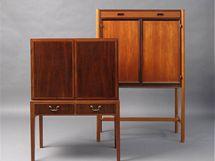 Barová skříňka zroku 1940, design Jacob Kjaer, výrobce neznámý; kabinet Manhattan (1960), výrobce IKEA, design Bengt Ruda