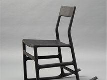 Složené houpací křeslo Ellan zkolekce Post Scriptum (2005), design Chris Martin, výroba IKEA, materiál lisované piliny