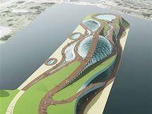 Návrh aquaparku u Libeňskéhio mostu - nadhled