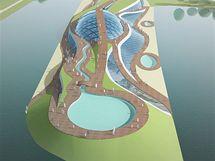 Návrh aquaparku u Libeňského mostu - nadhled