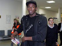 Usain Bolt po příletu do Ostravy.