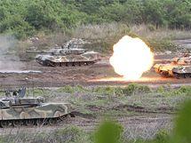 Jihokorejští vojáci nacvičují obranu proti případnému útoku severokorejské armády. (25. května 2010)