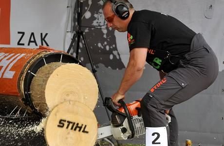 Jan Kamír z Oplotu u Přeštic řeže topolový blok na čas při disciplíně Stihl Stock Shaw