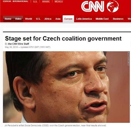 České volby na stránkách televizní stanice CNN (30. května 2010)
