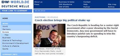 České volby na stránkách Deutsche Welle (30. května 2010)