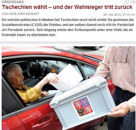 České volby na stránkách německého deníku Die Welt(30. května 2010)