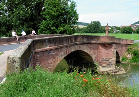 Německo, Mohanská cyklostezka, most u Werbachu na cyklostezce z Wertheimu do Tauberbischofsheimu