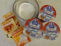Ingredience potřebné do mléčného krému.