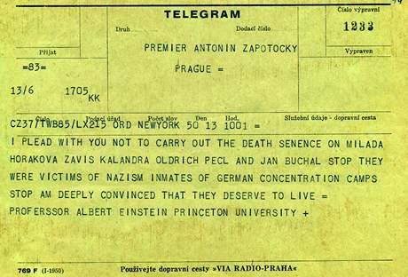 Jednou z nejvýznamnějších osobností, které požádaly prezidenta Gottwalda a předsedu vlády Zápotockého o udělení milosti pro Miladu Horákovou a další tři odsouzené k trestu smrti, byl fyzik a filozof Albert Einstein.