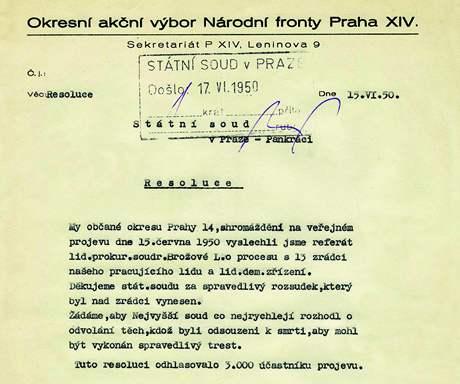 Rezoluce občanů Prahy 14 sepsaná po vyslechnutí referátu prokurátorky Ludmily Brožové, která požaduje, aby čtyři odsouzení k smrti byli co nejrychleji popraveni.