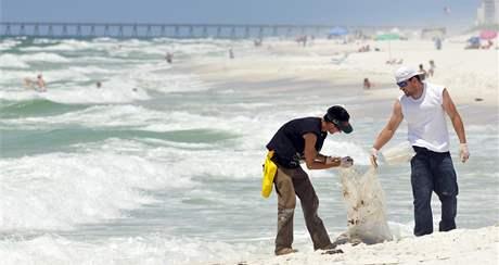 Ropa na Floridě, konkrétně na pláži Pensacola (4. června 2010)