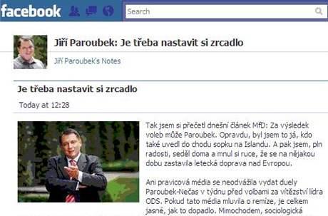 Příspěvek Jiřího Paroubka na Facebooku