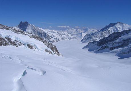 Vrcholová stanice a vyhlídky z observatoře Sphinx a na ledovec Aletsch