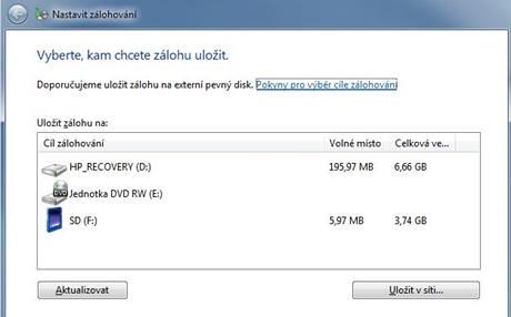Zálohování ve Windows 7