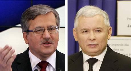 Kandidáti na prezidenta Polska Bronislaw Komorowski (vlevo) a Jaroslaw Kaczynski