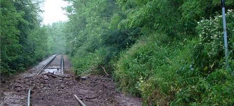 Silná bouře podemlela železniční trat' mezi Oslavany a Ivančicemi (12. červen 2010)