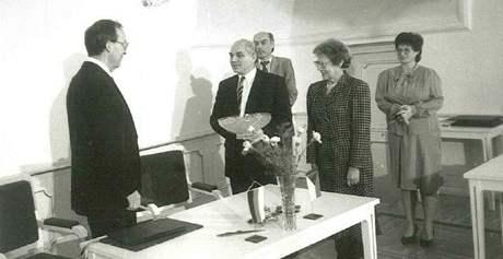 Smlouva o partnerství mezi Brnem a Stuttgartem - Josef Pernica druhý zleva