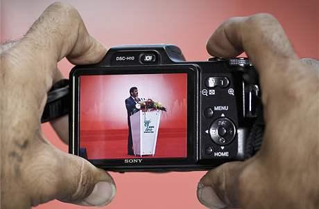 Íránský prezident Mahmúd Ahmadínežád na  výstavě Expo v čínské Šanghaji (11. června 2010)