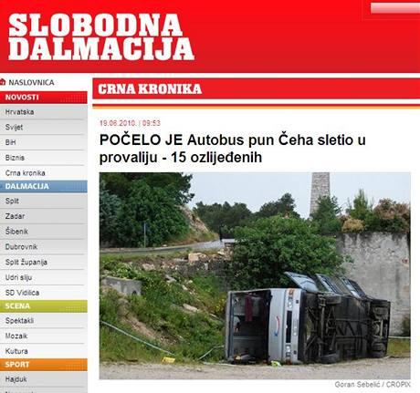 V Chorvatsku havaroval autobus s 38 lidmi