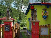 Vchod hlídají vyřezávaní psi