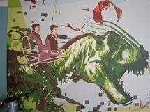 Tyranosaurus je hlavní ozdobou tapety