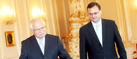 Václav Klaus a Petr Nečas na Pražském hradě. (31. května 2010)