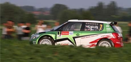 Jan Kopecký s vozem týmu Škoda Motorsport (Fabie S2000) na Belgické rallye.