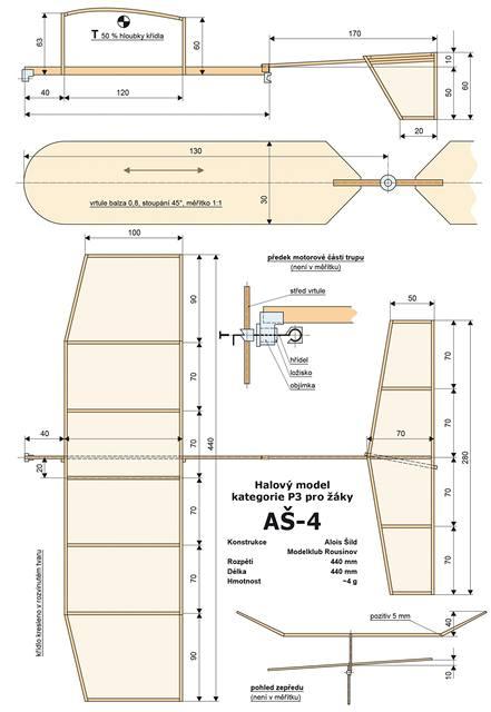 Plánek na stavbu žákovského modelu P3
