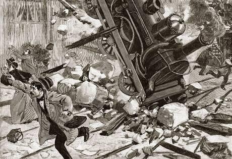 Vlaková nehoda na pařížském nádraží Montparnasse na dobové kresbě.
