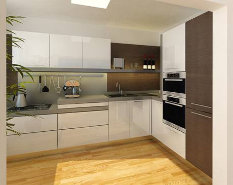 Kuchyně s vtipným zvýšením pracovní plochy